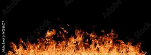 Fotografie, Obraz Fire flames on black background.