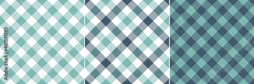Fotografia Vichy check pattern set in turquoise blue green and white