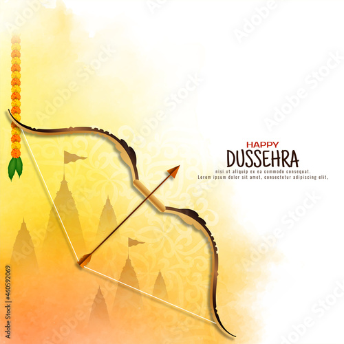 Canvas Print Happy Dussehra traditional festival yellow watercolor background