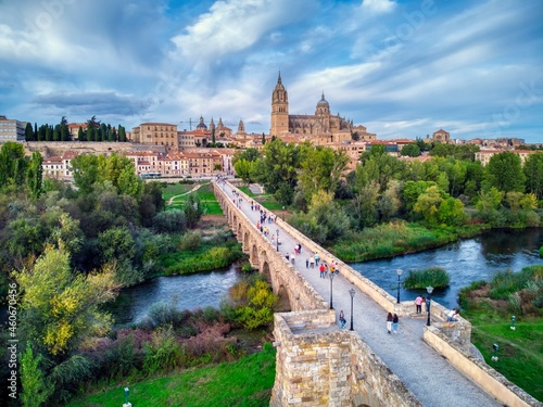 Fototapeta Aerial view of Salamanca with the cathedral and the roman bridge.
