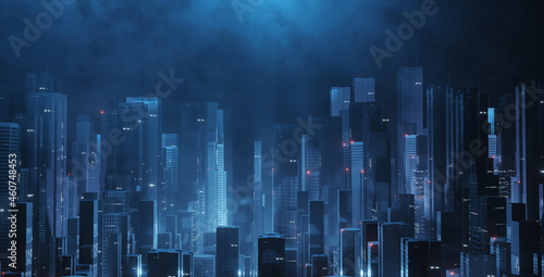 3D Rendering of futuristic virtual sci fi city Fototapet