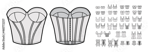 Foto Set of corsets Bustier longline bra lingerie technical fashion illustration with molded cup, bones, crop hip length
