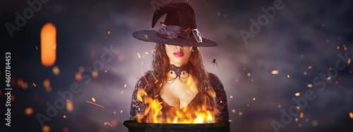 Obraz na płótnie Halloween Witch with a cauldron