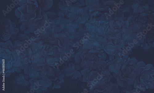 Tekstura monochromatyczna w odcieniach granatu z motywem kwiatów dzikich róż. Grafika cyfrowa przeznaczona do druku na tkaninie , ozdobnym papierze, płytkach ceramicznych, tapecie, tle fotograficznym.