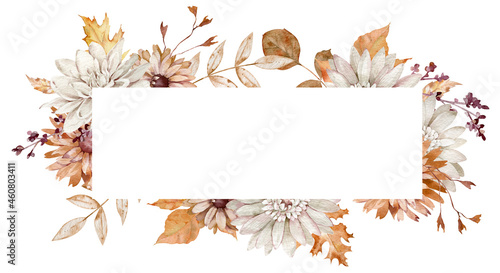 Tela Watercolor horizontal frame with fall flowers and leaves