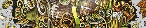Fotografiet Beer Fest hand drawn doodle banner. Cartoon detailed flyer.