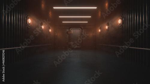 Fotografie, Obraz Mysterious corridor inside a prison or ship background