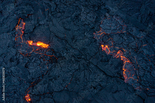 Photo Patterns of lava from an active volcano eruption