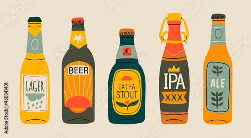Fotografie, Obraz Various green, brown, yellow glass Beer bottles