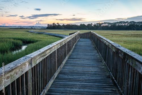 Sunrise over the marsh along the Tolomato River in St. Augustine, Florida.