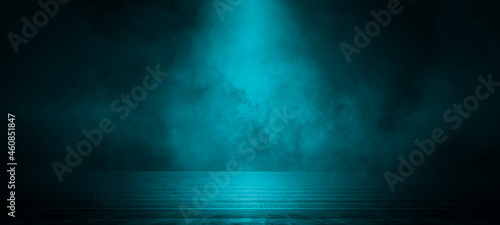 Billede på lærred Empty dark scene blue abstract stage, stairs, concrete, neon light, spotlights, and studio room with smoke float up the interior texture for display products wall background