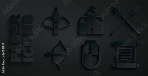 Carta da parati Set Shield, Crossed medieval spears, Medieval bow and arrow, Decree, parchment, scroll, Castle, fortress and Battle crossbow with icon