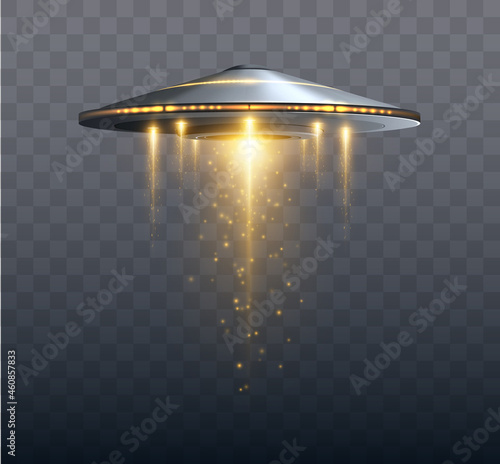 Canvastavla UFO spaceship with light beam isolated on transparent background