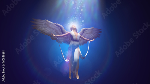 Foto 3d illustration of the ascension of a beautiful angel into the radiance of heave