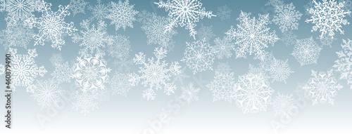 Obraz na plátně Illustration of big white complex Christmas snowflakes on gray background