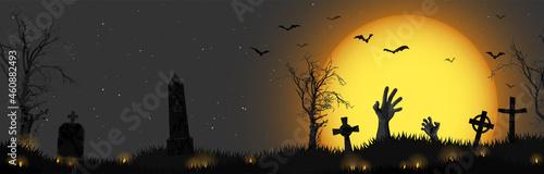 Foto Halloween zombie hands in front of full moon