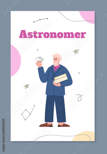 Fotografie, Tablou Astronomer or stargazer profession poster or card, flat vector illustration