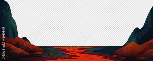 Obraz na płótnie Lava river, fantasy landscape with red fire river