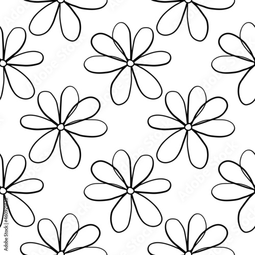 Fényképezés Abstract colorful doodle Daisy flower seamless pattern