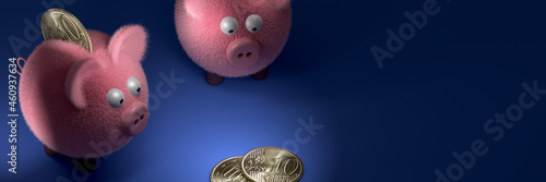 Fotografiet Piggy Bank Gang, greedy for coins