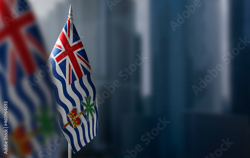 Fototapeta Small flags of British Indian Ocean Territory on a blurry background of the city