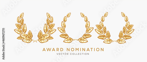 Fotografie, Obraz Set of 3d realistic gold laurel wreath winner award nominations isolated on white background