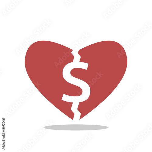 Canvastavla Heart cracked by dollar sign