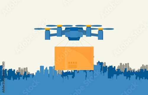 Fotografía Remote air drone with a box in flat style vector