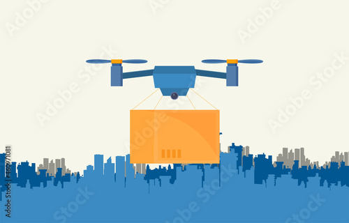 Canvas Print Remote air drone with a box in flat style vector