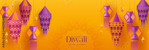 Happy Diwali. Group of paper graphic Indian lantern on Indian festive theme big banner background. The Festival of Lights.