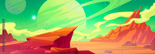 Fotografiet Mars landscape, alien planet background, red desert surface with mountains, saturn and stars shine on green sky
