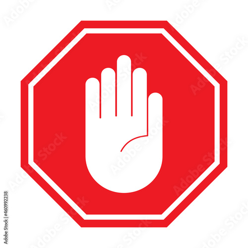 Obraz na plátně red stop sing icon vector roadsign with hand symbol for graphic design, logo, we