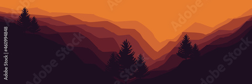 Canvastavla landscape mountain scenery with pine tree silhouette vector illustration for pat