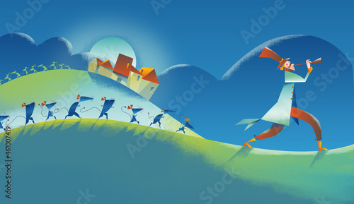Photo Rats invasion, The Pied Piper of Hamelin story, fairytale illustration