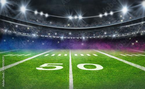 Fotografie, Obraz green field in american football stadium