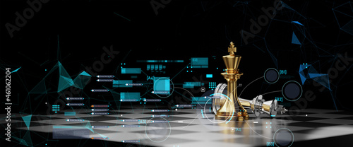 Fotografia Concept of Strategy business ideas for Innovation planing and planing idea chess competition,futuristic graphic icon and gold chess board game black color tone with financial stock line background