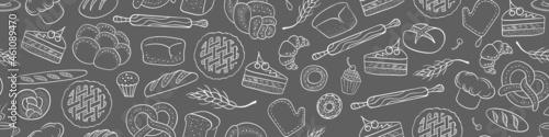 Obraz na plátně Bakery seamless horizontal border