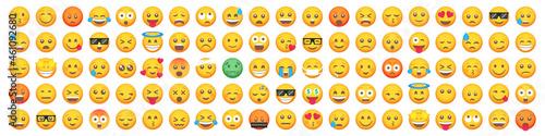 Big set of 100 emoticon smile icons. Cartoon emoji set. Vector emoticon set