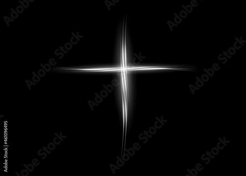Wallpaper Mural cross of light, shiny Cross with white lights frame symbol of christianity
