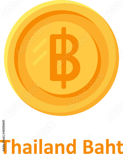 Fotografia, Obraz Thailand Baht Coin Isolated Vector icon which can easily modify or edit