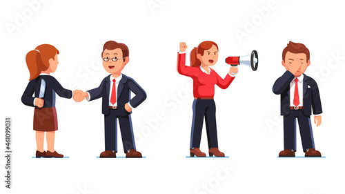 Photo Business woman in anger shouting to man ear