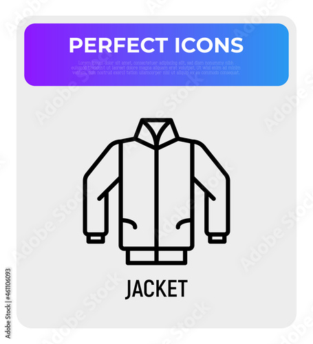 Fotografering Jacket, bomber thin line icon