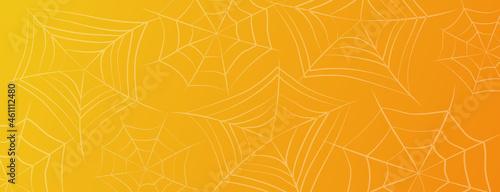 Slika na platnu Halloween spiderweb banner. Cobwebs on orange gradient background