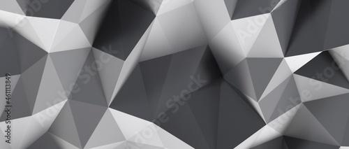 Billede på lærred Abstract white and gray geometric polygon minimal subtle background