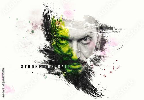 Grunge Paint Stroke Portrait