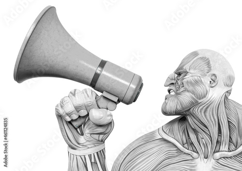 Canvas Print bodybuilder muscle maps is protesting and talking on the megaphone in white back