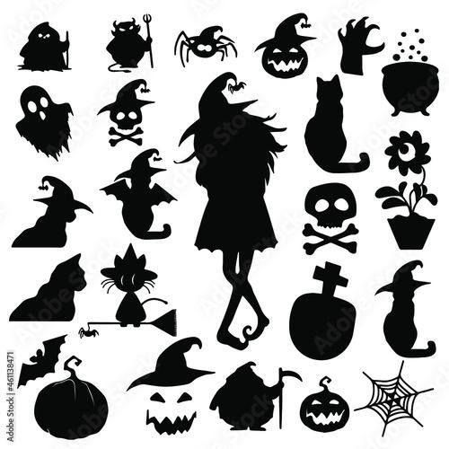 Fototapeta objetos de Halloween, iconos de halloween, silueta de cosas de halloween