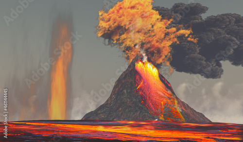 Fotografie, Tablou Volcano with Lava and Fire - A volcano erupts with red hot molten lava with smoke and fire