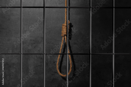 Fotografija Rope noose with knot in prison cell