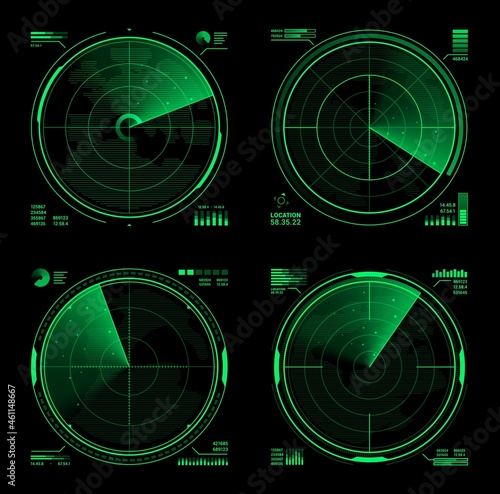 Obraz na plátně HUD military radar or vector navy sonar display screen interface of navigation system